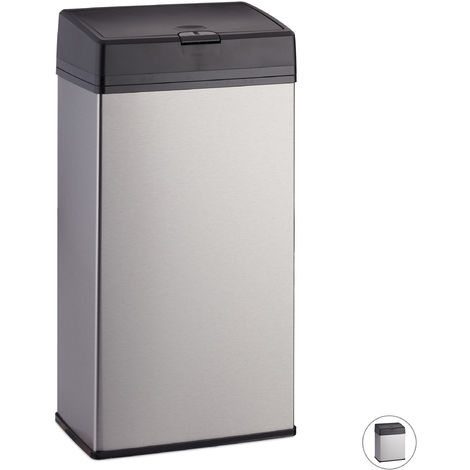 Relaxdays Bathroom Bin, Stainless Steel Indoor Dustin for the Bathroom & Kitchen, Push Function, 6 L, Silver
