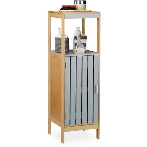 Relaxdays Bathroom Cabinet, 4 Tiers, Height-Adjustable Shelf, Bamboo, MDF, Shelving HxWxD: 96.5x30x30 cm, Natural/Grey