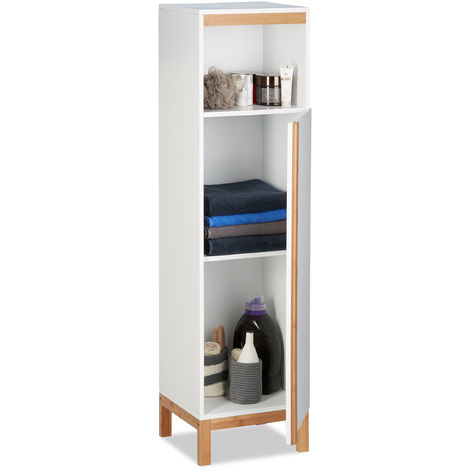 Relaxdays Bathroom Cabinet, Tall Cupboard, 3 Shelves, Bamboo & MDF, HWD 119 x 32 x 30 cm, White & Natural