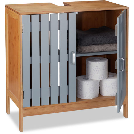 Relaxdays Bathroom Floor Cabinet, Siphon Cut-Out, Bamboo and MDF Basin Vanity Unit, HxWxD: 61.5 x 60 x 30 cm, Natural/Grey