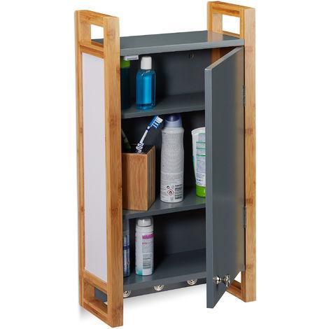 Relaxdays Bathroom Hanging Cabinet, Wall Cabinet with Bamboo Frame & 3 Hooks, Bath Cupboard, HWD 58 x 31.5 x 15 cm, Dark Grey