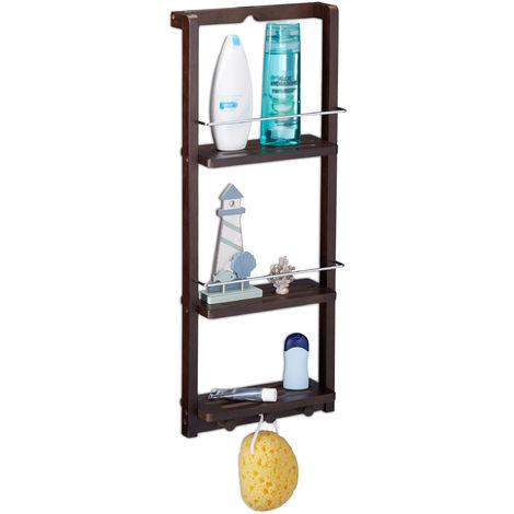 Relaxdays Bathroom Hanging Shelf, 3-Tier Bamboo Shower Caddy, Hook Bar, HWD 70 x 28.5 x 10 cm, Dark Brown