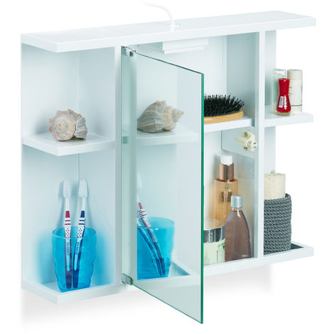 Relaxdays Bathroom Mirror Cabinet, Bath Shelf with Socket, Mirror Door & 6 Drawers, Robust Steel, HWD 45x50x12 cm, White