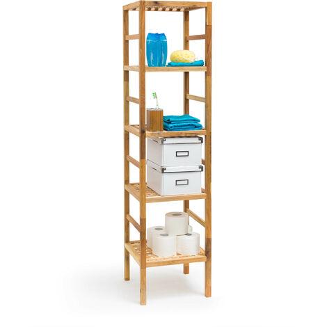 Relaxdays Bathroom Rack with 5 Shelves, Free-Standing, 150 x 35.5 x 35.5 cm, Walnut Wood, Shelving Unit, Brown