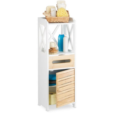 Relaxdays Bathroom Shelf Narrow With 5 Shelves, Multi Purpose Cupboard for Bathroom and Kitchen, Tall Boy Cabinet, White