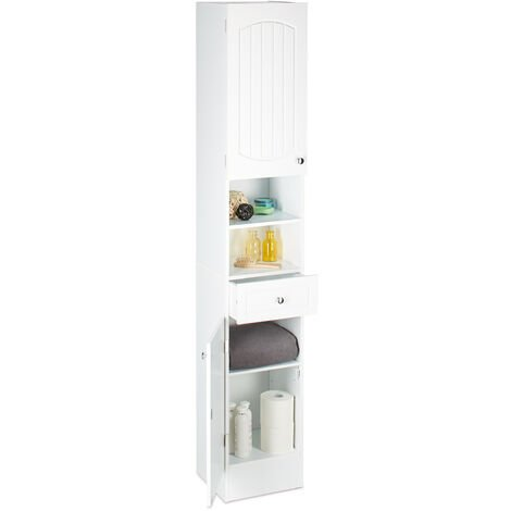 Relaxdays Bathroom Shelf Narrow With Drawer, Multi Purpose Cupboard, Tall Boy Cabinet, H x W x D: 173.5 x 30.5 x 32 cm, White