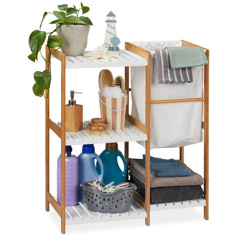 Relaxdays Bathroom Shelf Unit With Laundry Bin, Standing & Open, Bamboo & MDF Shelving Unit, HWD 76x65.5x33 cm, Natural