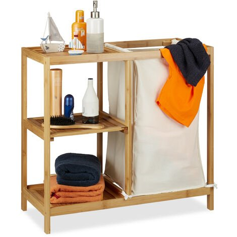 Relaxdays Bathroom Shelf With Laundry Hamper, 3 Tiers, Removable Sack, Open Bamboo Shelving, HxWxD 65x68x33 cm, Natural