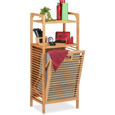 Relaxdays Bathroom Shelf with Laundry Hamper, Removable Folding Fabric Box, Bamboo Frame, HWD 95x40x30 cm, Natural/Grey