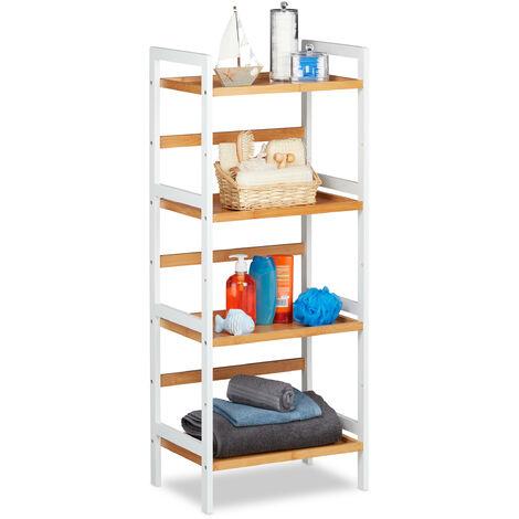 Relaxdays Bathroom Shelving Unit, Shelves For Towels, etc, Bamboo Shelf Unit, HWD 110x45x31.5 cm , White/Natural