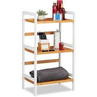 Relaxdays Bathroom Shelving Unit, Shelves For Towels, etc, Bamboo Shelf Unit, HWD 80x45x31.5 cm, White/Natural