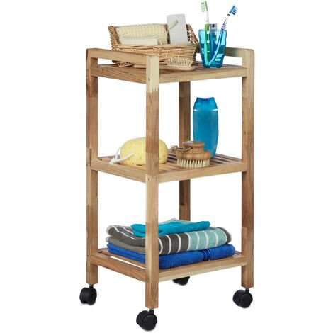 Relaxdays Bathroom Shelving with Wheels, Wooden, HxWxD: 71.5 x 35 x 31 cm, Handles, Rotating, 3 Shelves, Kitchen Rack, Natural