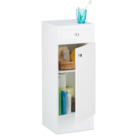 Relaxdays Bathroom Standing Cabinet Cupboard with Drawer for the Bathroom, MDF, 80 x 30.5 x 30.5cm, White
