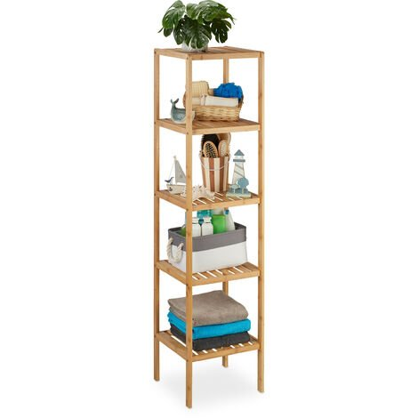 Relaxdays Bathroom Storage Unit: 140 x 34 x 34 cm Chic Bathroom Furniture with 5 Shelves made of Natural Wood Standing Shelf as Kitchen Rack or Wooden Shelves for Bathroom Storage, Natural Brown