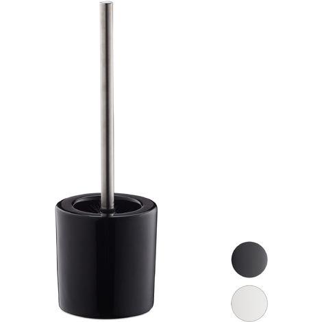 Relaxdays Bathroom & Toilet Accessory Set, Brush Holder, Brush Head, Bath Set, HxD 38.5 x 12.5 cm, Black