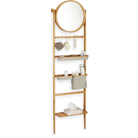 Relaxdays Bathroom Valet, Leaning Ladder Shelf, Towel Rack with Mirror, Many Compartments, Wooden, Natural
