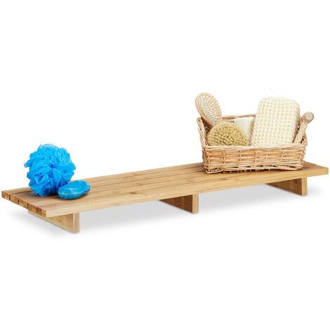 Relaxdays Bathtub Caddy Bamboo, Bath Storage Tray HxWxD: 6 x 70 x 22 cm, Modern Bathtub Bridge, Natural