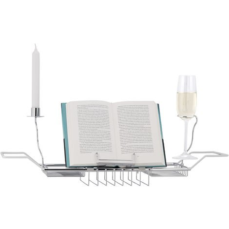 Relaxdays Bathtub Caddy, Book Stand, 2 Wine Glass Holders and Candle Holder, Stainless-Steel, White