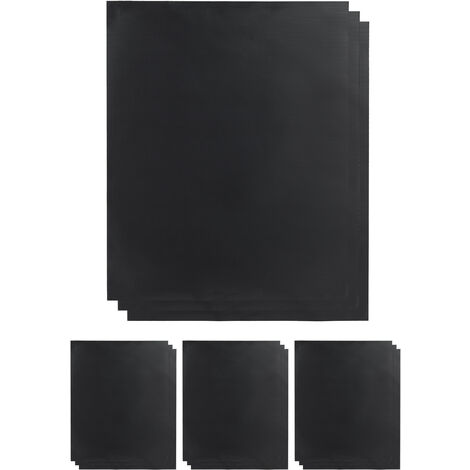 Relaxdays BBQ Grill Sheet Set Of 12, Non-stick Coated, Trim To Fit, Reusable Baking Tray Lining, 0.3 mm, 40x50cm, Black