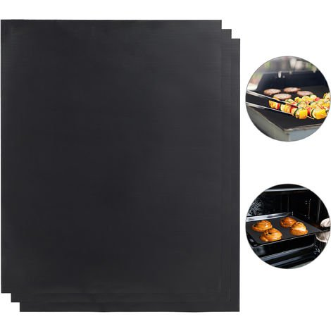 Relaxdays BBQ Grill Sheet Set Of 3, Non-stick Coated, Trim To Fit, Reusable Baking Tray Lining, 0.3 mm, 40x50cm, Black