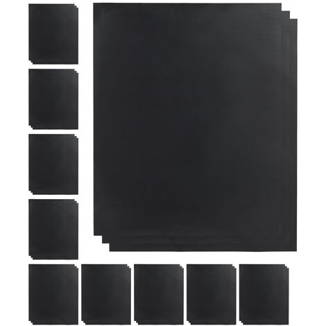 Relaxdays BBQ Grill Sheet Set Of 30, Non-stick Coated, Trim To Fit, Reusable Baking Tray Lining, 0.3 mm, 40x50cm, Black