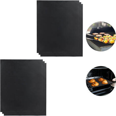 Relaxdays BBQ Grill Sheet Set Of 6, Non-stick Coated, Trim To Fit, Reusable Baking Tray Lining, 0.3 mm, 40x50cm, Black