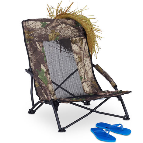Relaxdays Beach Chair, Folding Fishing Seat with Carrier Bag, Camping Chair, Garden and Beach, 100 kg, 70x57x55cm, Green