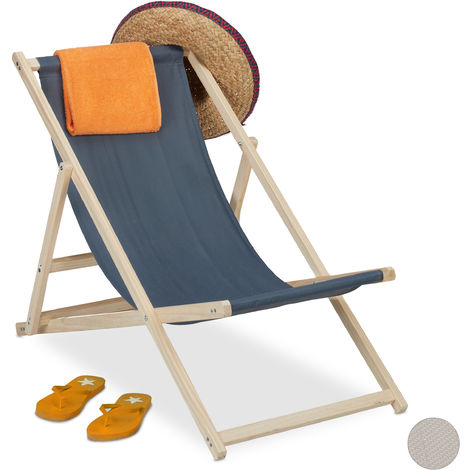 Relaxdays Beach Deckchair Wood, Foldaway Wooden Steamer Chair With Fabric, Adjustable, Garden, Balcony, Anthracite