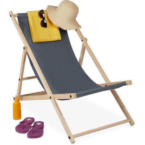 Relaxdays Beach Deckchair Wood, Foldaway Wooden Steamer Chair With Fabric, Adjustable, Garden, Balcony, Anthracite
