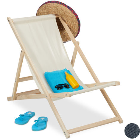 Relaxdays Beach Deckchair Wood, Foldaway Wooden Steamer Chair With Fabric, Adjustable, Garden, Balcony, Beige