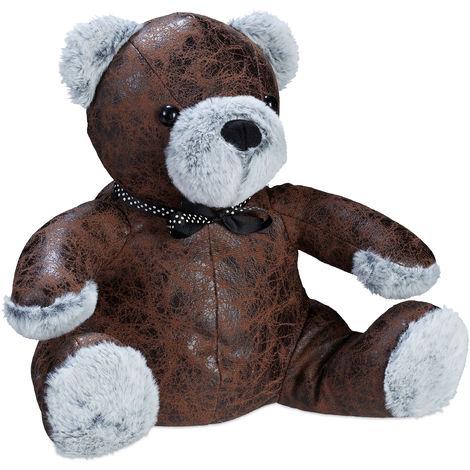 Relaxdays Bear Doorstopper, Decorative Floor Bumper, Standing Faux Leather Door Stop, Brown/Grey