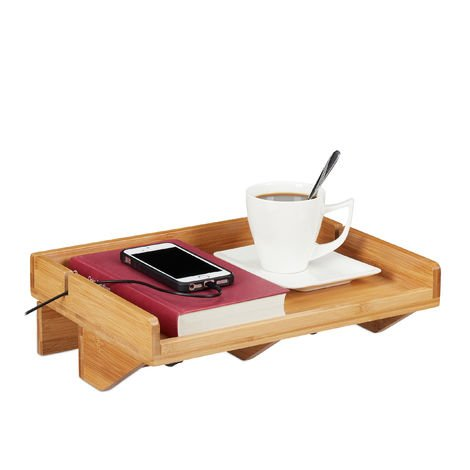 Relaxdays Bedside Shelf, Mini Clip-on Nightstand, Bamboo, Space-saving, Wire slot, Caddy W x D 32.5 x 27cm, Natural