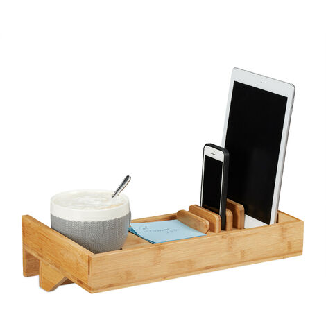 Relaxdays Bedside Shelf & Organizer, Mini Clip-on Nightstand, Bamboo, Beverage Holder D. 9 cm, Organization Tray, Natural