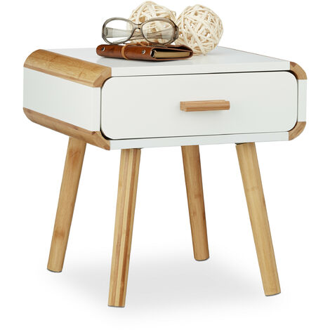 Relaxdays Bedside Table with 1 Drawer, Wooden Nightstand, Compact Bedroom Dresser, HxWxD: 41 x 40 x 40 cm, White