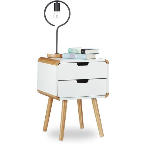 Relaxdays Bedside Table with 2 Drawers, Wooden Nightstand, Compact Bedroom Dresser, HxWxD: 50 x 40 x 40 cm, White