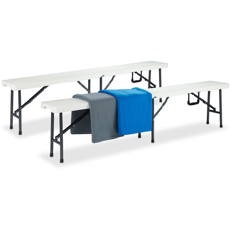 Relaxdays Beer Bench Set of 2, Folding Garden Bench, Plastic, Lightweight, Buffet, HWD: 42x180x25cm, White