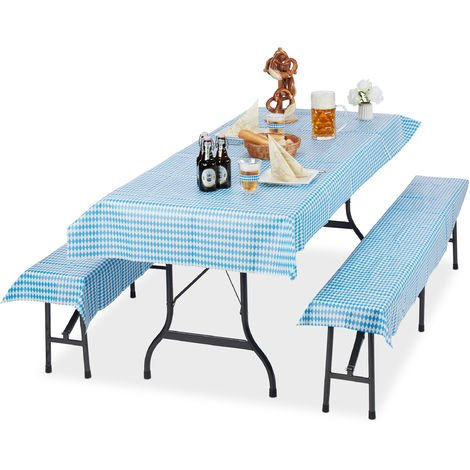 Relaxdays Beer Tent Set of 3, Tablecloth 250 x 100 cm, 2 Bench Pads, Washable, Simple, Waterproof, White/Blue