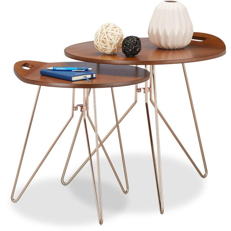 Relaxdays - Beistelltisch 2er Set Holz, Metallgestell, Retro-Design (Walnuss), Couchtisch Holz, moderner Look, braun