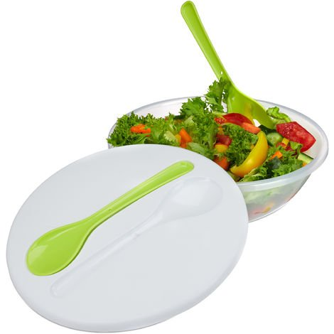 Relaxdays Big Salad Bowl To Go with Lid & Cutlery, Plastic, H x D 9.5 x 28 cm, White-Green