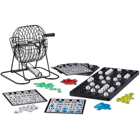 Relaxdays Bingo Game with Metal Cage, HxWxD: 20 x 17.5 x 21.5 cm, Bingo Tickets, Loose Balls, Chips, Game Boards, Black