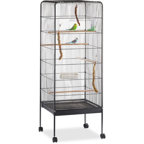 Relaxdays Bird Aviary, Cage for Budgies, Canaries, Parrots, Casters, Metal, Stand, H x W x D: 146 x 54 x 54 cm, Black