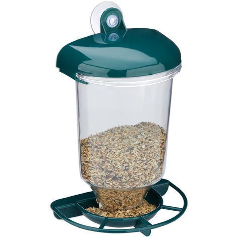 Relaxdays Bird Feeding Station, Suction Cup, Watch Birds Through your Window, Easy Care, Balcony, PP, Transparent/Green