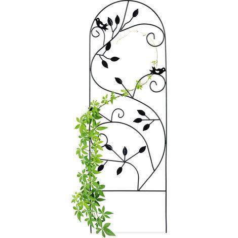 Relaxdays Bird Trellis, Metal Garden Lattice, Climbing Aid for Plants, 120 x 40 cm, Vine Design, Black