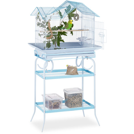 Relaxdays Birdcage with Stand, 2 Shelves, Budgies, Canaries, Perch, HWD 145.5 x 75 x 51, Light Blue