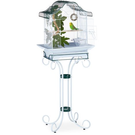 Relaxdays Birdcage with Stand for Budgies, Canaries, With Perch and Bowls, HWD 147x55x50.5 cm, Grey-Blue/Green