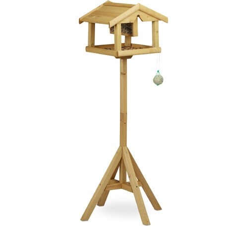 Relaxdays Birdhouse with Stand, Wood, Untreated, Free-Standing, Bird Feeder Assembly Kit, HxWxD: 117 x 50 x 50 cm, Brown