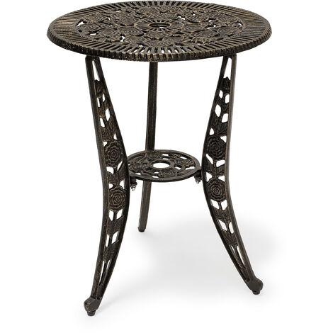 Relaxdays Bistro Table: 64 x 50 x 50 cm, Garden Table Aluminium Patio Table, Art Nouveau Style End Table with Flower Floral Design, Bronze