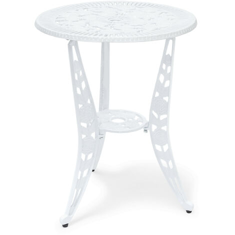 Relaxdays Bistro Table: 64 x 50 x 50 cm, Garden Table Aluminium Patio Table, Art Nouveau Style End Table with Flower Floral Design, White