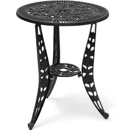 Relaxdays Bistro Table: 64 x 50 x 50 cm, Garden Table Aluminum Patio Table, Art Nouveau Style End Table with Flower Floral Design, Black