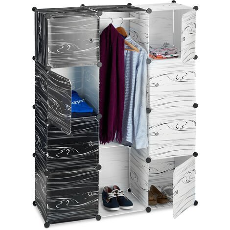 Relaxdays Black and White Wardrobe, Modern Cabinet, Shelving Unit with 9 Compartments, Plastic Room Divider, 145 x 110 x 37 cm